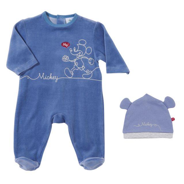 97fdda0522a7 DISNEY - Ensemble pyjama et bonnet bébé MICKEY en velours - pas cher ...