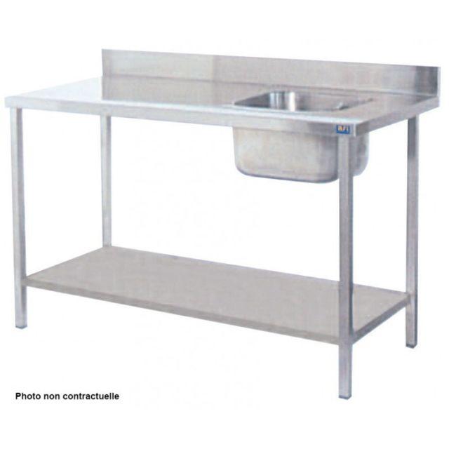 Materiel Chr Pro Table de Chef Inox Avec Bac à Droite - Gamme 700 - Afi Collin Lucy - inox 1200x700 700