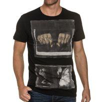 Religion - Tee shirt noir imprimé tatouage et squelette