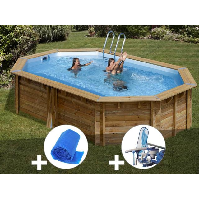 Sunbay kit piscine bois cannelle 5 51 x 3 51 x 1 19 m b che bulles kit d 39 entretien pas - Piscine bois classe 5 ...