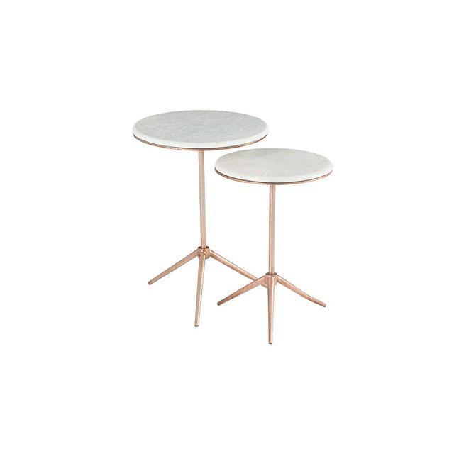 Table gigogne ronde 46x62cm sur trepier en fer cuivre