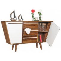 COMFORIUM - Buffet 140 cm à 3 tiroirs et 2 portes en bois de sheesham massif coloris blanc et brun
