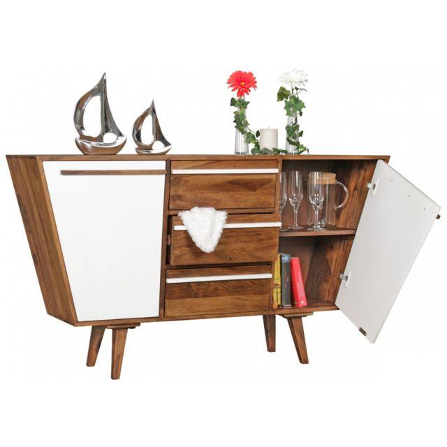 COMFORIUM Buffet 140 cm à 3 tiroirs et 2 portes en bois de sheesham massif coloris blanc et brun