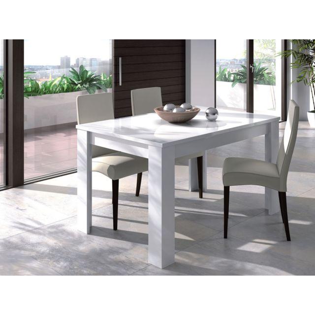HABITAT ET JARDIN Table repas Kenda - extensible - 140/190 x 90 x 78 cm - Blanc brillant