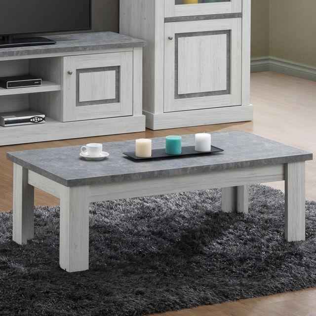 Nouvomeuble Table basse 120 cm couleur chêne clair et gris Emric