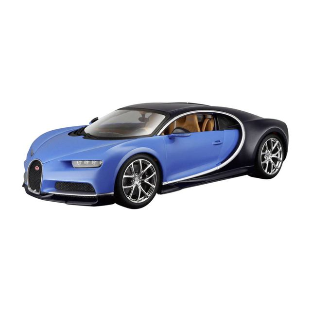 maisto mod le r duit de voiture de collection bugatti chiron bleue echelle 1 24 pas cher. Black Bedroom Furniture Sets. Home Design Ideas