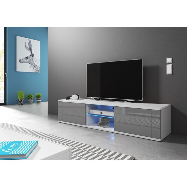 Vivaldi - Meuble Tv - Hit - 140 cm - blanc mat / gris brillant +LED - style design - pas cher Achat / Vente Meubles TV, Hi-Fi - RueDuCommerce