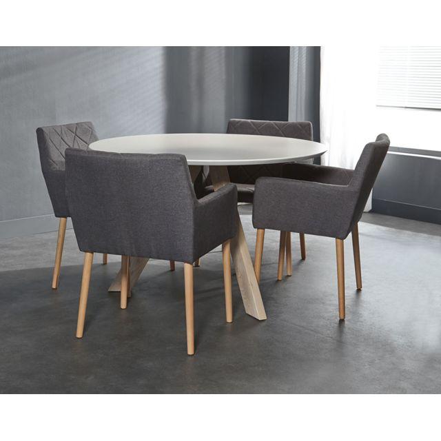 Sofamobili Table à manger ronde blanche pieds en chêne massif Eroe