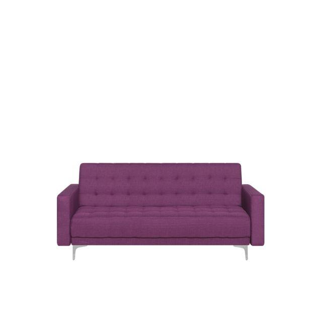 BELIANI Canapé 3 places en tissu violet ABERDEEN - violet