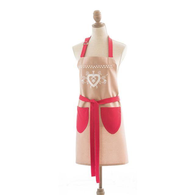 Coucke Tablier 100% coton contraste rouge motif c?ur 80x97cm Chalet D'HIVER