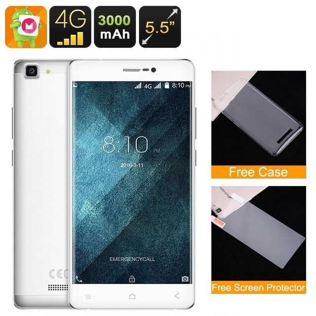 Yonis Smartphone 5.5 Pouces 4G Android 6.0 Hd Quad Core Dual Sim 16 Go Blanc