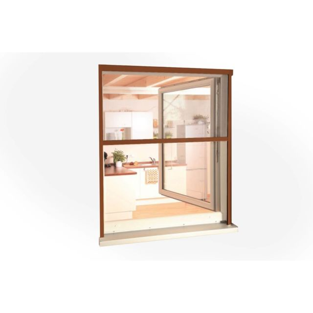 empasa moustiquaire enroulable fen tre rollo alu marron clair l160 x h160 cm pas cher. Black Bedroom Furniture Sets. Home Design Ideas