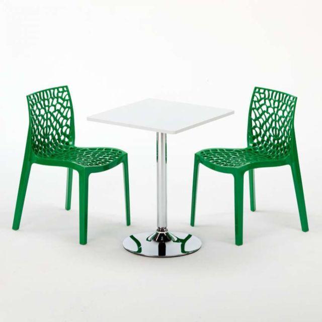 Grand Soleil Table Carrèe Blanc + 2 Chaises Colorées