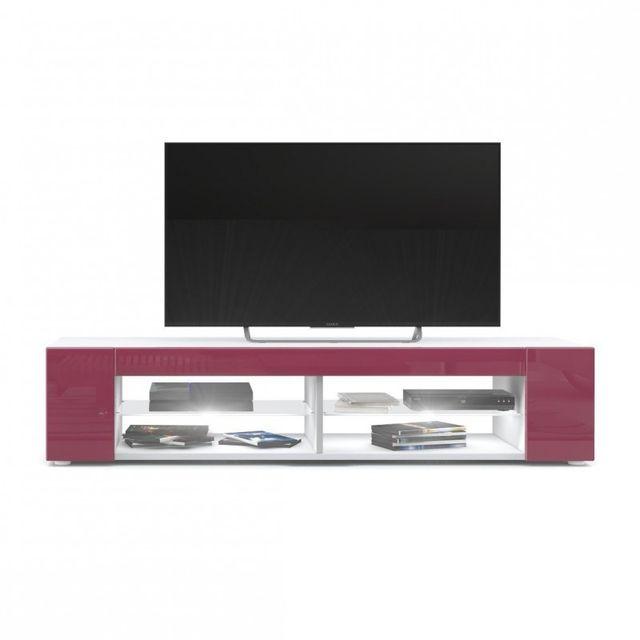 Mpc Meuble Tv blanc mat Façades en fuchsia laquées led Blanc