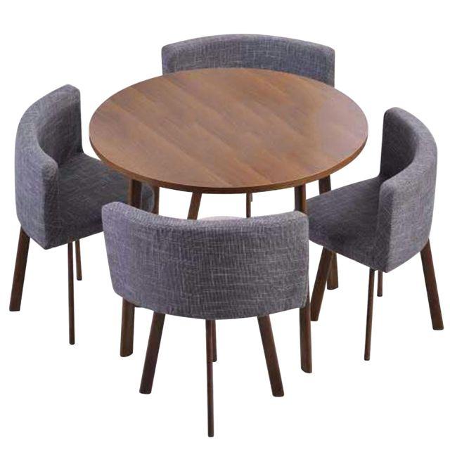 MENZZO Table ronde et chaises Riga Chêne Foncé et Tissu Gris