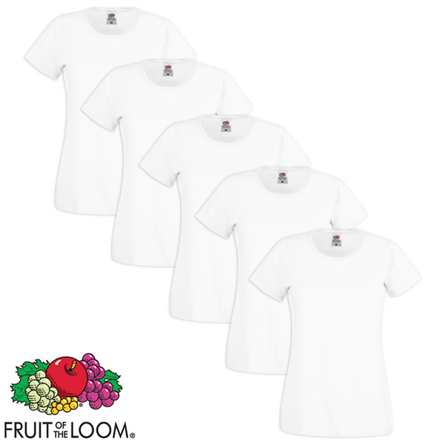 Fruit Of The Loom - 5 t-shirts à col rond