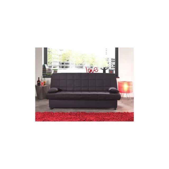 Sans Marque Staro Banquette Clic-clac 3 Places - Tissu Noir - Style Contemporain - L185 X P 88 Cm