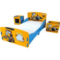 Kidsaw - Lit enfant tracteur 70 x 140 cm chevet et coffre à jouets Jcb