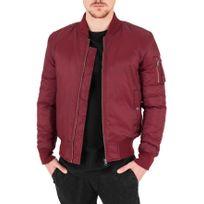 Beststyle - Blouson bomber homme rouge aviateur fashion