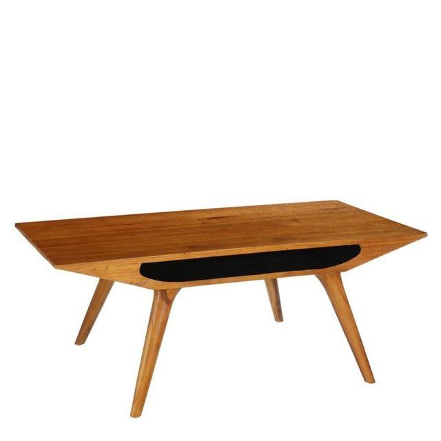 Ma Maison Mes Tendances Table basse rectangulaire en bois blond et pieds coniques Goran - L 120 x l 60 x H 45