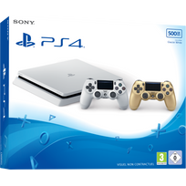SONY - Playstation 4 Slim 500 Go Blanche + Dualshock 4 Gold