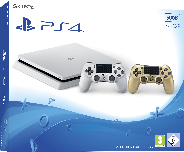 Playstation 4 Slim 500 Go Blanche + Dualshock 4 Gold