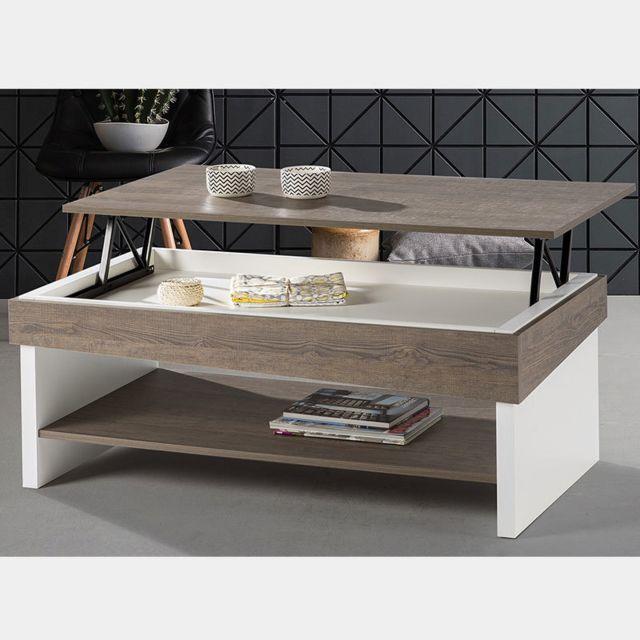 Nouvomeuble Table basse modulable blanc et couleur chêne Melila