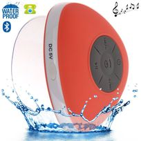 Yonis - Mini enceinte Bluetooth triangle main libre ventouse waterproof rouge