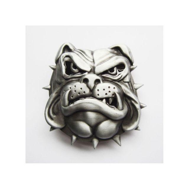 Universel Boucle de ceinture tete de bulldog 3d chien homme femme