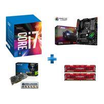 INTEL - Processeur Core i7-7700K 4.20GHz LGA1151 - KABYLAKE + Carte mère MSI Z270 GAMING PRO CARBON Socket 1151 - Chipset Z270 Kabylake + Ballistix Sport LT Kit 16 Go 2 x 8 Go DDR4 2400 MHz + GeForce GTX 1080 EXOC 8GB GDDR5X 256-bit
