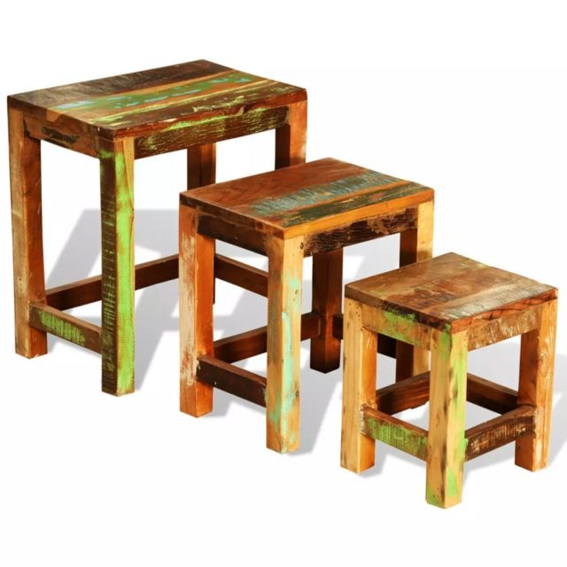 Superbe Consoles collection Bandar Seri Begawan Table gigogne 3 pcs vintage Bois de récupération
