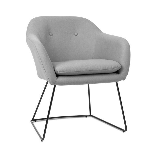 BESOA Zoe Chaise design rétro rembourrée de mousse - Pieds en acier - Revêtement en polyester velours gris