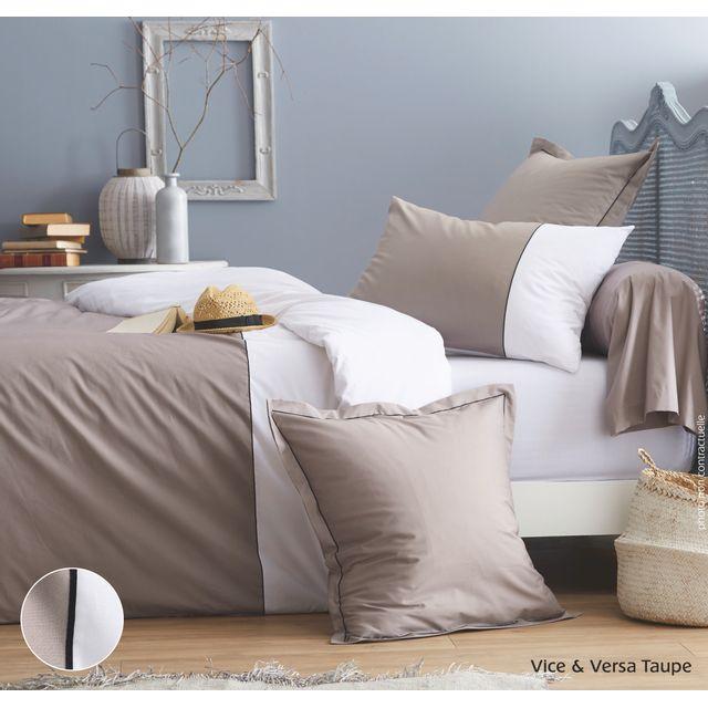 cotonflor drap housse vice versa en percale de coton taupe 140 x 190 cm pas cher achat. Black Bedroom Furniture Sets. Home Design Ideas