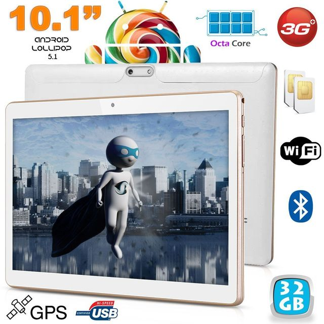 Yonis Tablette 10.1' Android 5.1 Multimédia 3G Octa Core Double Sim Gps 32Go