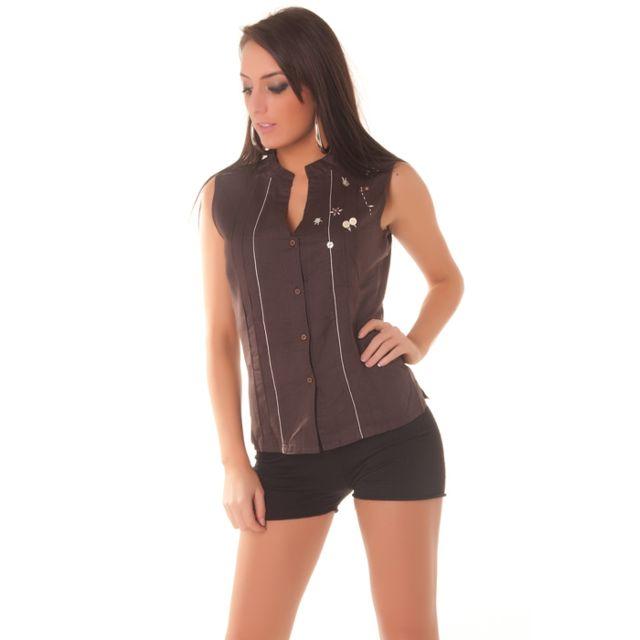 Grossiste-en-ligne - Débardeur, chemise 100% lin marron. Vetement femme 06a2745cec3