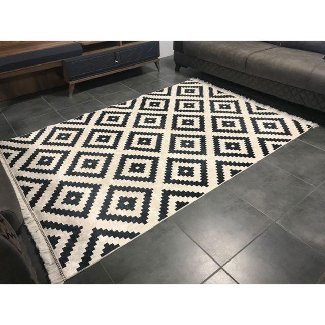 alya tapis tapis de salon moderne d co sunshine noir et blanc 80 x 150 cm pas cher. Black Bedroom Furniture Sets. Home Design Ideas