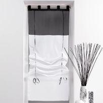 Decoline - Un store droit à passant - rideau voile bicolore noir / blanc 60 x 180 cm