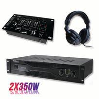 Ibiza Sound - Pack sonorisation amplificateur 700W Sa1000 + Table de mixage 3 voies 5 entrées + Casque