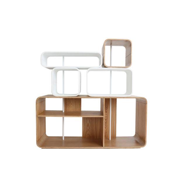 Miliboo Étagère modulable bois clair et blanc Brick