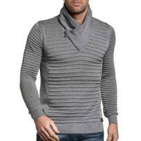 BLZ Jeans - Pull fin col roulé zippé gris homme