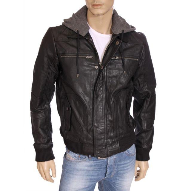 vraiment pas cher magasin en ligne la plus récente technologie Kaporal 5 - Kaporal - Veste en cuir à capuche homme Nygel ...