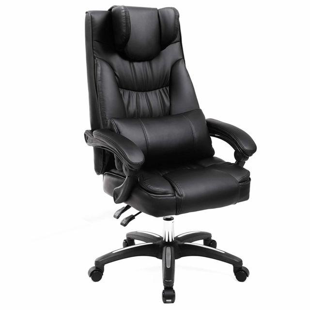 Songmics fauteuil de bureau avec appui t te modulable - Chaise de bureau avec accoudoir ...