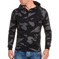 BLZ Jeans - Sweat zippé homme à capuche noir camouflage