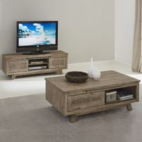 altobuy fjord ensemble table basse meuble tv - Ensemble Table Basse Meuble Tv Bois