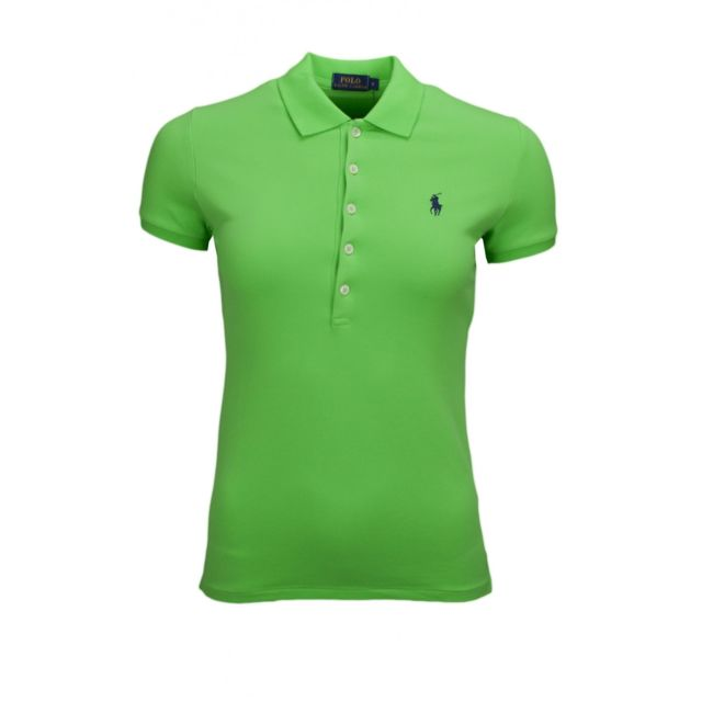 Ralph Lauren - Polo Julie 5 boutons vert pour femme - pas cher Achat   Vente  Polo femme - RueDuCommerce 557327f1578