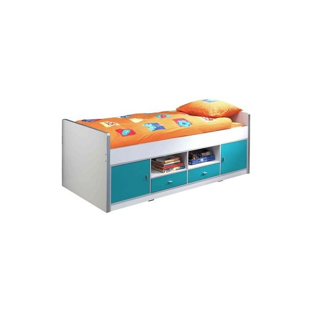 inside75 lit capitaine bonny laqu blanc et turquoise couchage 90 x 200 pas cher achat. Black Bedroom Furniture Sets. Home Design Ideas