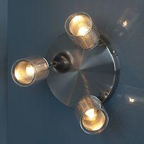 Corep - Plafonnier rond triple spots tête orientable en métal finition aluminium brossé diamètre 18cm Fuzo