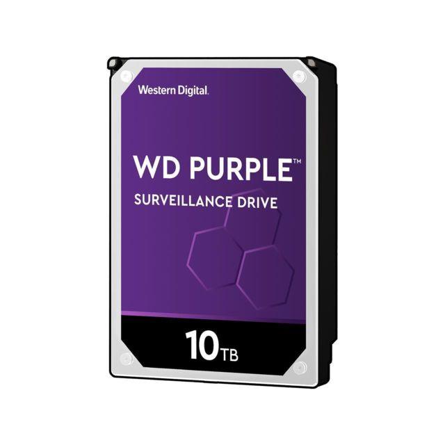 """WESTERN DIGITAL WD Purple 10 To 3.5"""" SATA III 6 Gb/s, Cache 256 Mo DISQUE DUR DE SURVEILLANCE 10Tb : Conçu pour des systèmes de sécurité haute définition toujours actifs, 24 heures sur 24, 7 jours sur 7 - 256mb 3.5in sata 6gb/s 7200rpm."""