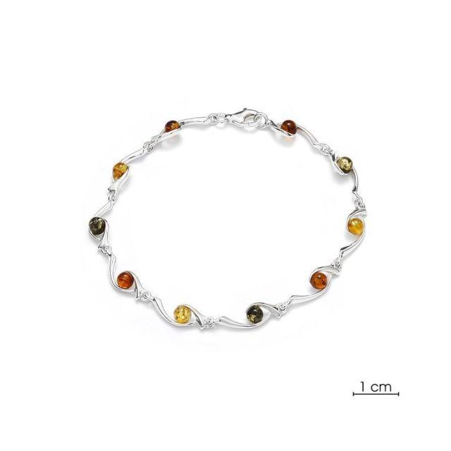 bracelet argent et ambre