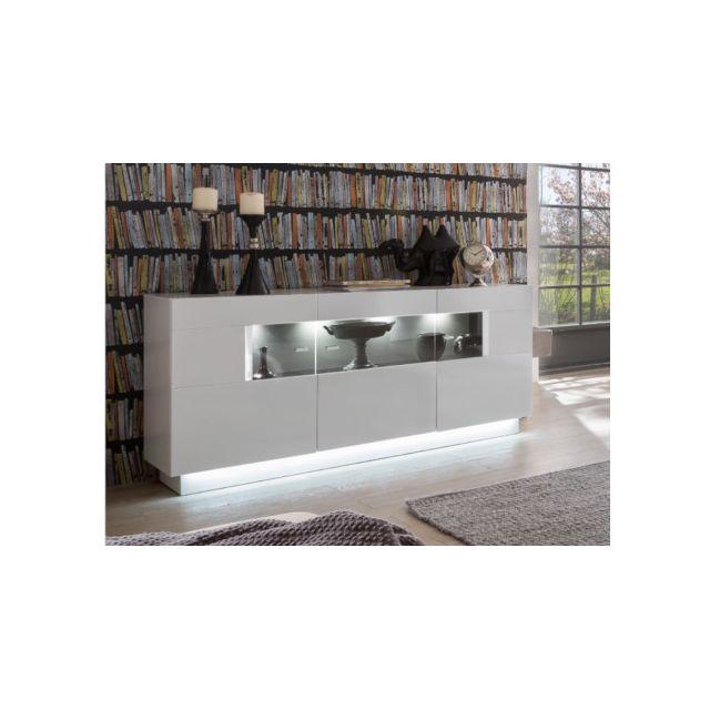 Buffet BLAKE - 3 portes - LEDs - MDF Blanc laqué